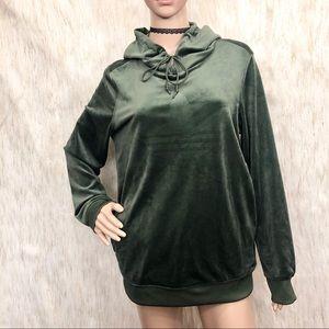 Adidas Originals Green Velvet Women's Hoodie